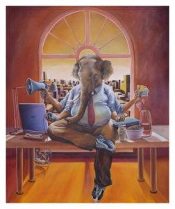 """Premier tableau acheté par les collectionneurs. Au-delà de Ganesh, symbole de réussite, Guillaume Lévy-Lambert se retrouvait dans le côté """"multi-tâche"""" David Chan, """"CEO of Categories"""" Huile sur toile, 2007 MaGMA Collection"""