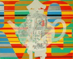 """Tableau acheté à l'occasion du premier anniversaire du PACS des collectionneurs. Le caractère chinois représenté signifie l'amour tandis que la théière représente le mariage Wei Guangqing, """"Made in China - Jin Ping Mei No.1"""". Acrylique sur toile, 2004 MaGMA Collection"""