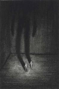 Audrey Casalis L'être abandonné, Pierre noire sur papier, 10,5 x 7 cm, 2013
