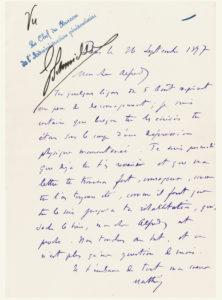 Lettre autographe signée de Mathieu Dreyfus à son frère Alfred, détenu à l'île du Diable. 26 septembre 1897.