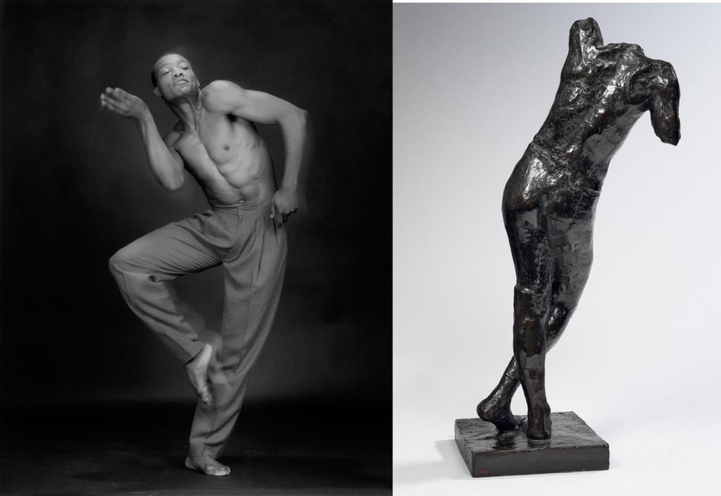 Robert Mapplethorpe (1946-1989), Bill T. Jones, 1985, MAP 1616 © 2014 Robert Mapplethorpe Foundation, Inc. All rights reserved — Auguste Rodin (1840-1917), Génie funéraire, vers 1898, bronze, 85,7 x 39 x 32 cm, Paris, musée Rodin, S. 795 © Paris, musée Rodin, ph. C. Baraja