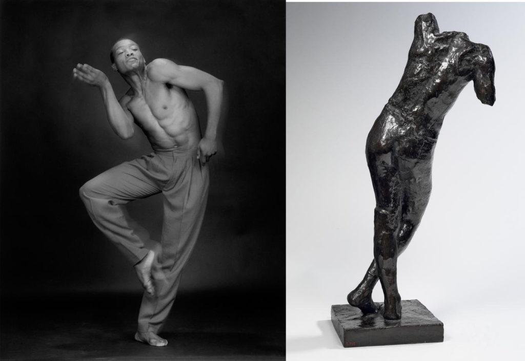 Robert Mapplethorpe (1946-1989), Bill T. Jones, 1985, MAP 1616 © 2014 Robert Mapplethorpe Foundation, Inc. All rights reserved — Auguste Rodin (1840-1917), Génie funéraire, vers 1898, bronze, 85,7 x 39 x 32 cm, Paris, musée Rodin, S. 795 © Paris, musée Rodin, ph. C. Baraja