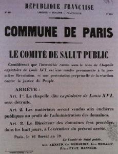 Arrêté concernant la destruction de la Chapelle Expiatoire sous la Commune