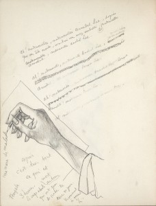 "Sothebys bibliothèque R. et B. L. - Dessin de cocteau ""Ma main malade"""