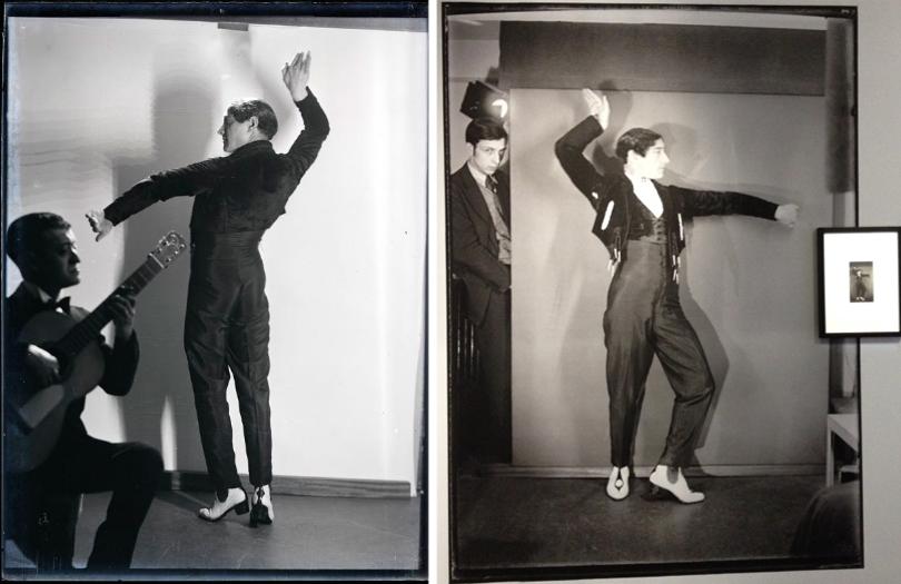 Man Ray, Vicente Escudero, 1928, épreuve gélatino-argentique (tirage d'époque à gauche / retirage non cadré à droite)