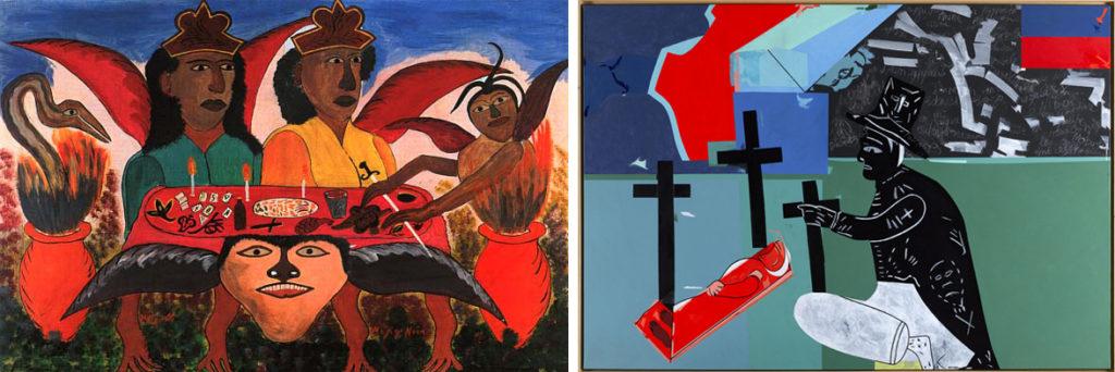 A gauche : Hector Hippolite, Magie noire, 1946-47, Miwalkee Art Museum A droite : Hervé Télémaque, le voyage d'Hector Hyppolite, 2000, MAMVP (©ADAGP, Paris 2014)