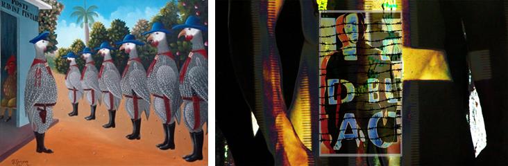A gauche : Fritzner Lamour, Poste Ravine Pintade, v 1980, collection Monnin A droite : Maksaens Denis, Tragédie Tropicale, 2013, coll. de l'artiste