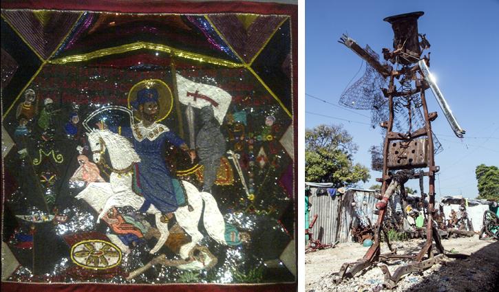 A gauche : Myrlande Constant, Saint Jacques, 2005, coll. Bourbon-Lally A droite : André Eugène, Legbda, 2005, coll. de l'artiste