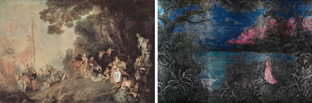 A gauche : Antoine Watteau, Embarquement pour Cythère, 1718, Berlin, Château de Charlottenburg A droite : Edouard Duval-Carrié, Embarquement pour l'Isle-de-France ou le Renvoi d'Erzulie Freda Dahomey, 2014, coll. de l'artiste (©ADAGP, Paris 2014)