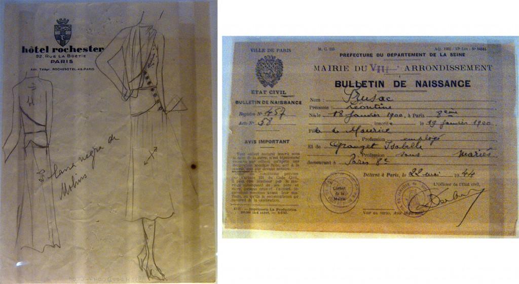 A gauche : Cristobal Balenciaga, croquis sur papier à en-tête de l'hôtel Rochester, Paris, 1932, coll. Balenciaga A droite : aux acte de naissance de Léontine Prusac, née le 18 janvier 1900 à Paris, 22 mai 1944, coll. Paulhan