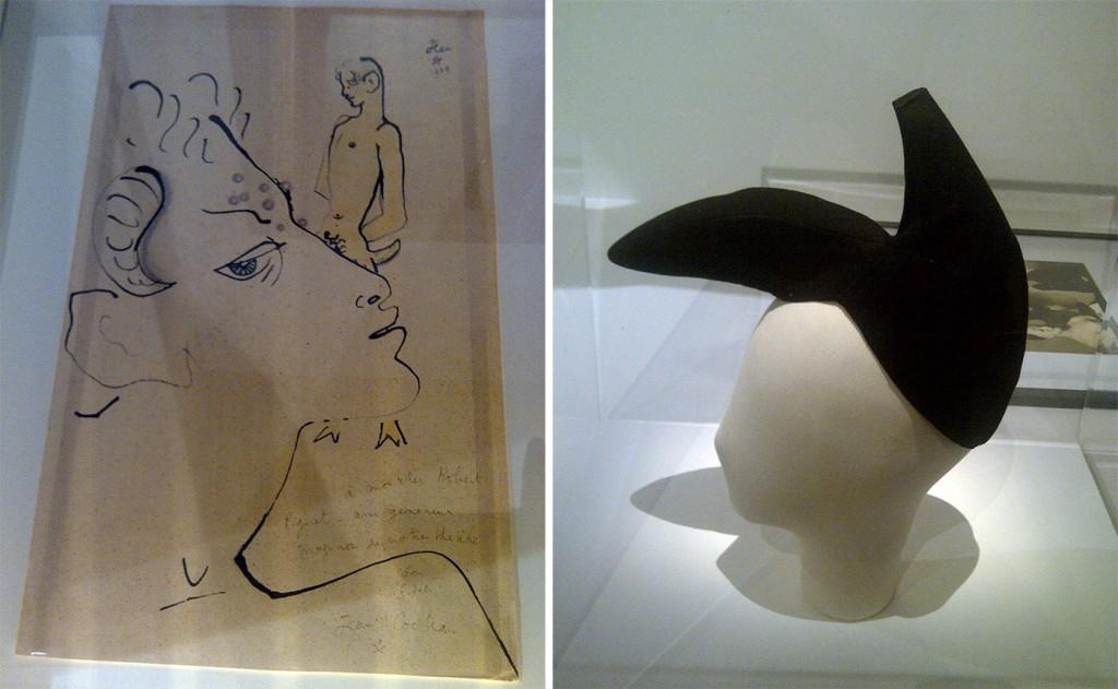 A gauche : Jean Cocteau, Faunes, 1939, coll. part., dédicacé « A mon cher Robert Piguet – ami généreux, magicien de notre théâtre. Son fidèle Jean Cocteau. » A droite : Elsa Schiaparelli et Salvador Dali, chapeau-chaussure, 1937-38, coll. Palais Galliera