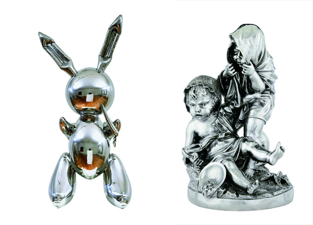 A gauche : Rabbit, 1986, Acier inoxydable, Museum of Contemporary Art Chicago, Partial Gift of Stefan T. Edlis and H. Gael Neeson, 2000.21 © Jeff Koons A droite : Two Kids, 1986, Acier inoxydable Photo: Douglas M. Parker Studios, Los Angeles Rubell Family collection, Miami © Jeff Koons