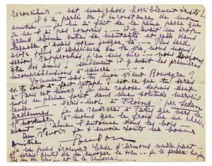 Louise De Coligny-Châtillon, dite Lou Lettre autographe signée à André Rouveyre. 1er octobre 1920. 2 pages in-8 (197 x 248 mm) Estimation : 8 000-12 000 €