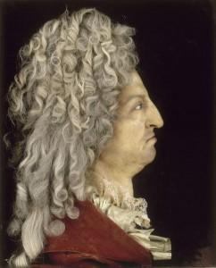 Portrait de Louis XIV par Antoine Benoist (1632-1717), vers 1705, Cire colorée, cheveux, textile, 52x42 cm © RMN / Gérard Blot