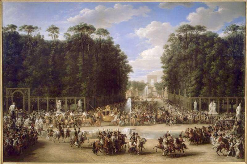 Cortège du mariage de Napoléon Ier et de l'archiduchesse Marie-Louise traversant le Jardin des Tuileries, le 2 avril 1810, étienne-Barthélemy Garnier, vers 1810.