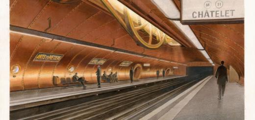François Schuiten illustration de la station de métro Arts et Métiers Paris