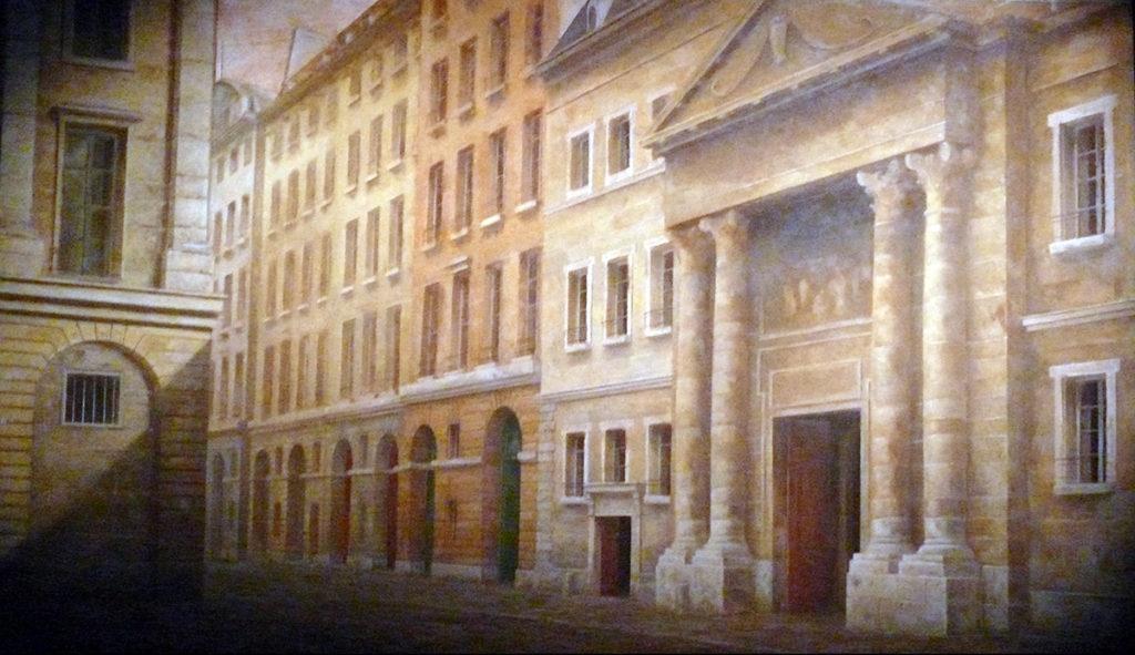 Jean-Baptiste Marot, la rue St-Honoré et le couvent des Feuillants, 2001, décor du film l'Anglaise et le Duc