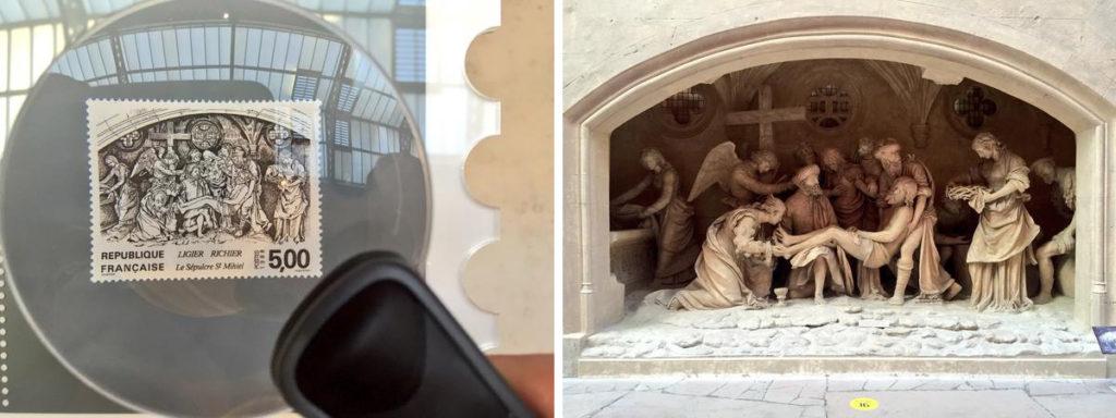 A gauche : timbre-poste dessiné par Huguette Sainson et gravé en taille-douce par Pierre Albuisson, 1988 A droite : Enfeu : Mise au tombeau. Moulage par Edouard Pouzadoux, 1895 et 1899 ; murs et voûtes intérieurs par l'entreprise Mérindol, 2005