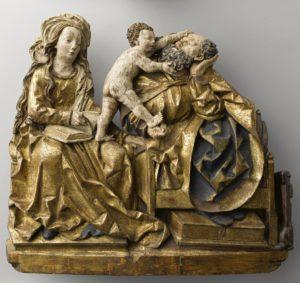 La Sainte Famille Sud de la Souabe (Lux Maurus ?), vers 1510-1520 Tilleul polychromé Paris, musée de Cluny - musée national du Moyen Âge © Rmn-Grand Palais / Jean-Gilles Berizzi