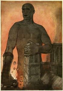 Fritz Erler, Revue Jugend 1915, n°5. «Der grosse Brummer» (La Grand mensonge). © Collection particulière