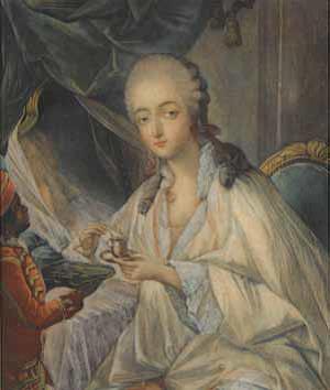 Jeanne Bécu, Comtesse du Barry et Zamor qui lui apporte une tasse de café - Jean-Baptiste-André Gautier d'Agoty -Château de Versailles © RMN-Grand Palais Gérard Blot.