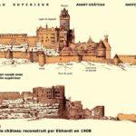 Le château reconstruit par Ebhardt et les ruines avant restauration