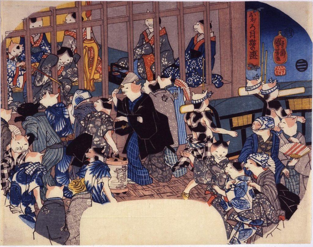 Amoureux des chats, Kuniyoshi aimait les représenter et les intégrer à ses oeuvres
