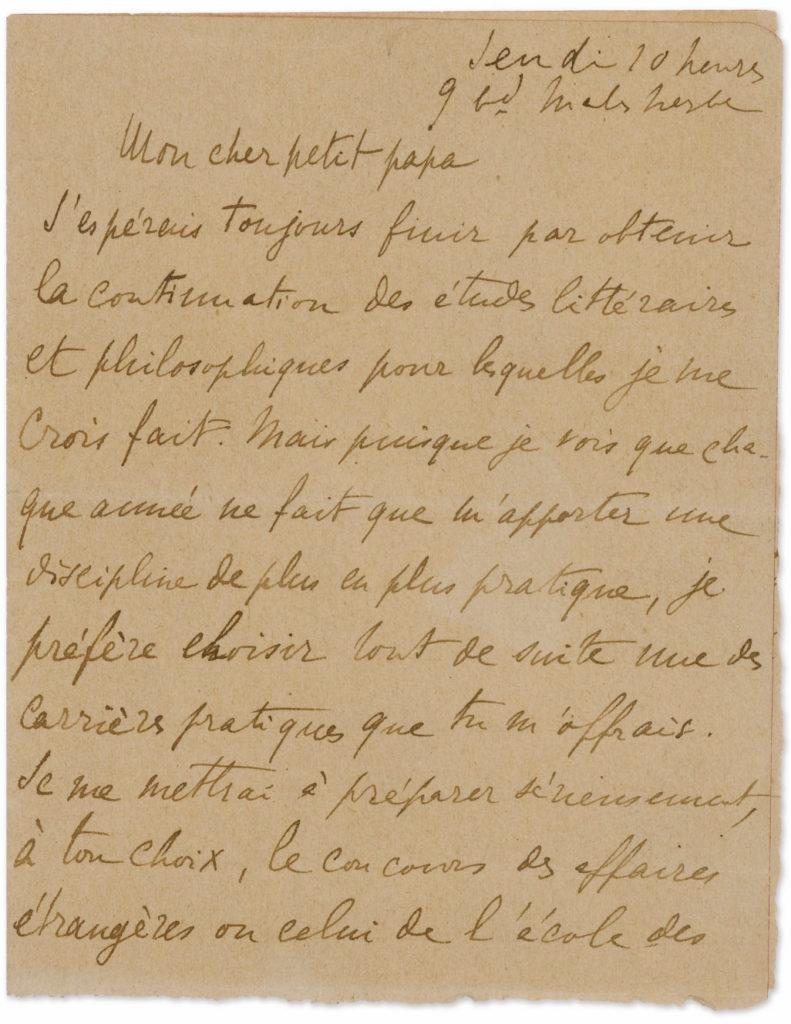 Marcel Proust, Lettre à son cher petit papa, Vente Sotheby's