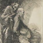 Albert Besnard (1849-1934), Exigeante ou Le Peintre et la Mort (de la série «Elle»), 1900-1901, eau forte, 14,2 x 11,4 cm, Collection privée.