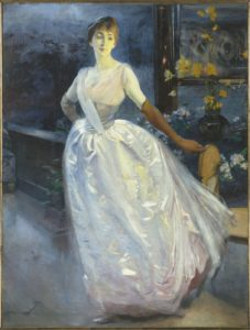 Albert Besnard (1849-1934), Portrait de madame Roger Jourdain, femme du peintre, 1886 ou 1896, huile sur toile, 200 x 153 cm, Paris, musée d'Orsay, don de Mme Roger Jourdain, 1921. © RMN-Grand Palais (musée d'Orsay) / Hervé Lewandowski