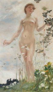 Albert Besnard (1849-1934), Printemps, vers 1887, huile sur panneau, 46 x 27 cm, Paris, Galerie Elstir. © Lucile Audouy