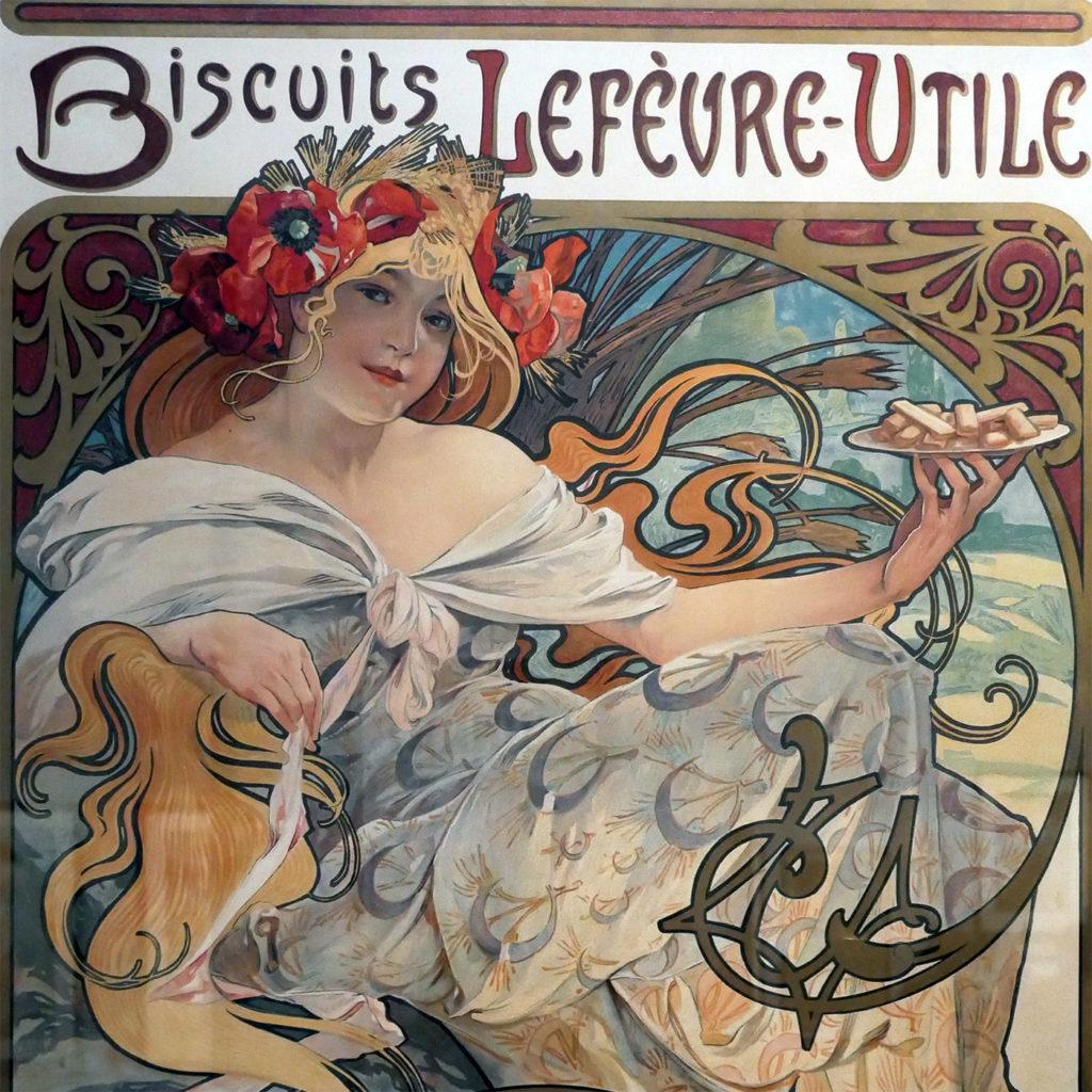 Affiche Mucha pour les biscuits Lefèvre-Utile