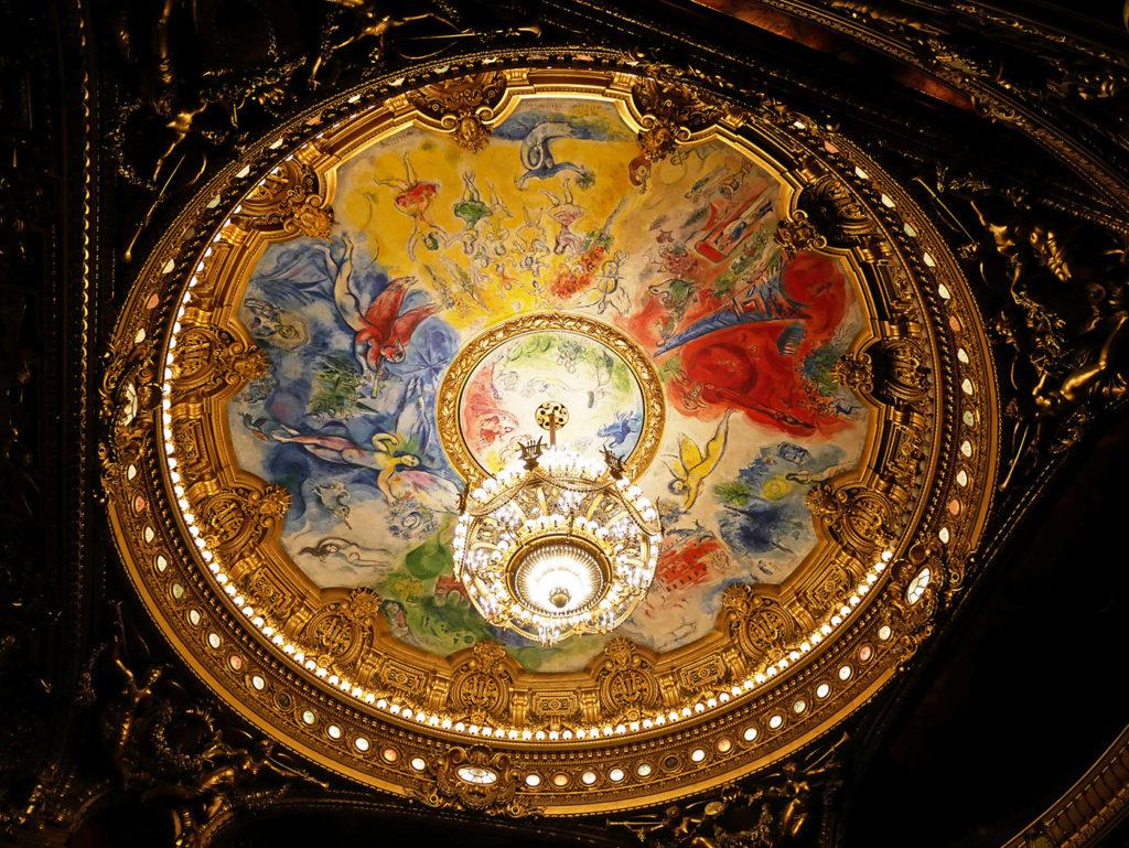 Le plafond de Chagall dans la salle de l'Opéra Garnier