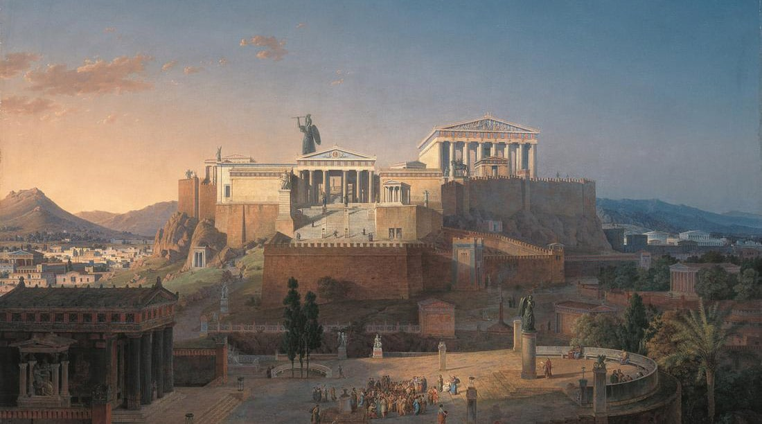 Reconstitution de l'Acropole par Leo Von Klenze (1784 - 1864), huile sur toile, 1846