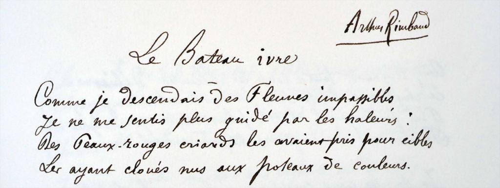 Manuscrit du Bateau Ivre de Rimbaud, copie de Verlaine