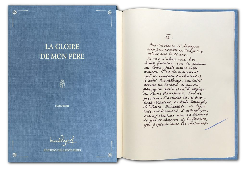 Manuscrit de la Gloire de mon Père, Marcel Pagnol