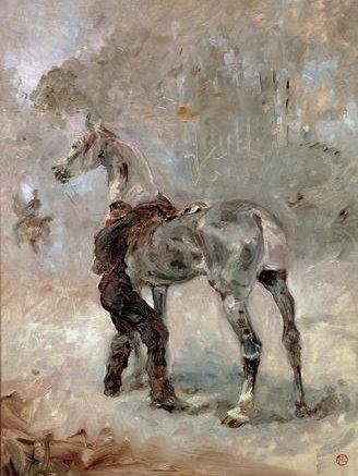 Toulouse-Lautrec, L'artilleur sellant son cheval, 1879