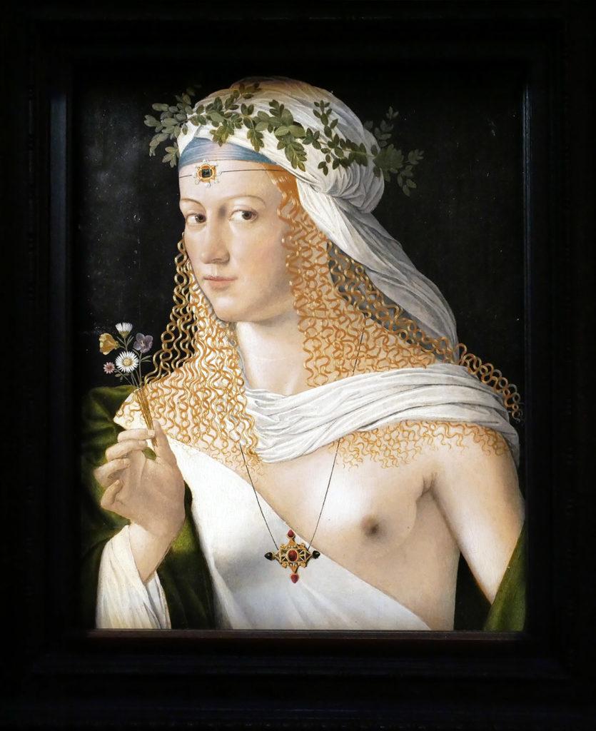 Bartolomeo Veneto -Portrait idéalisé d'une courtisane en flore