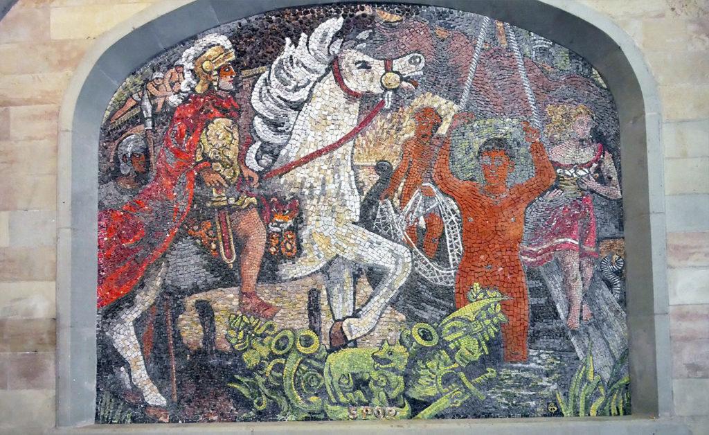 Jules César représenté sur une mosaïque dans le centre historique de Genève