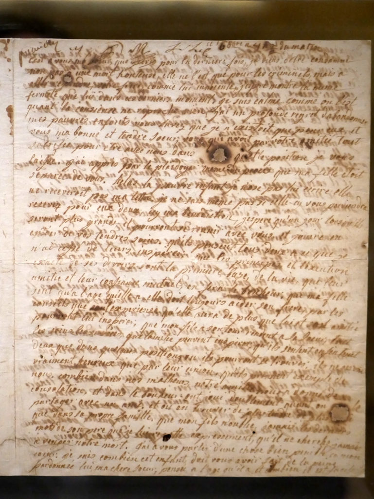 Dernière lettre de Marie-Antoinette