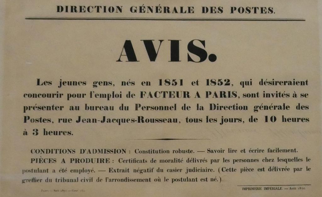 Avis de recrutement de facteur à Paris