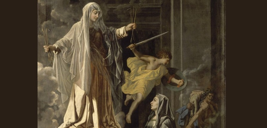 Nicolas Poussin, Saint Francoise Romaine announcing in Rome the end of the plague