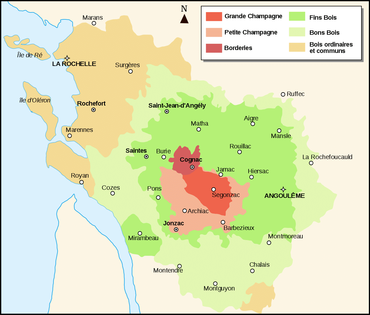 Map of Cognac Crus
