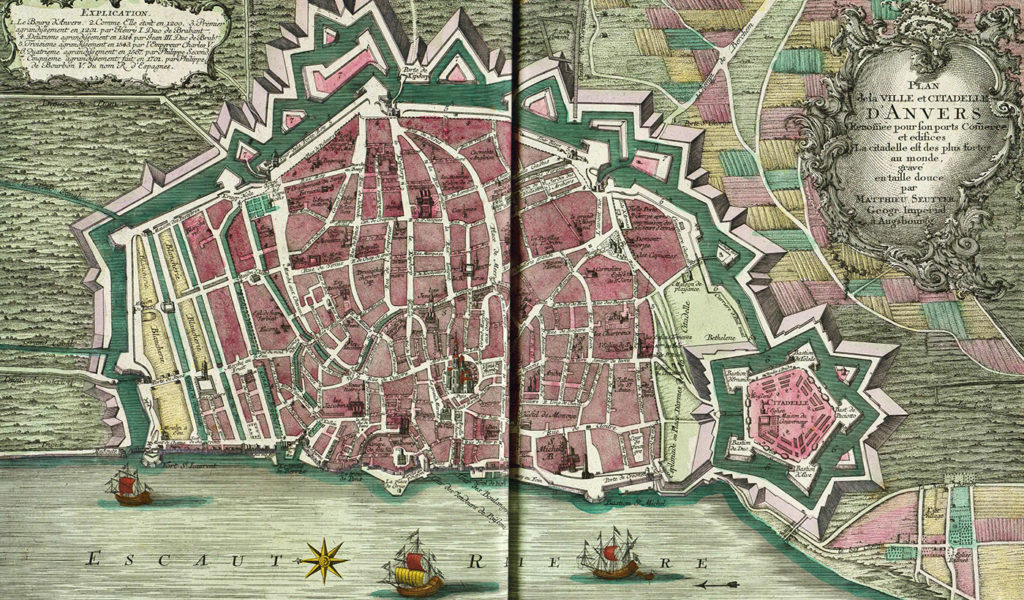 Map of Antwerp in 1740