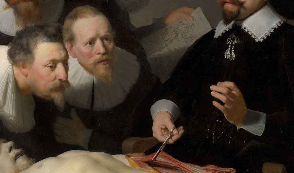 Détail de la Leçon d'anatomie du docteur Tulp, par Rembrandt