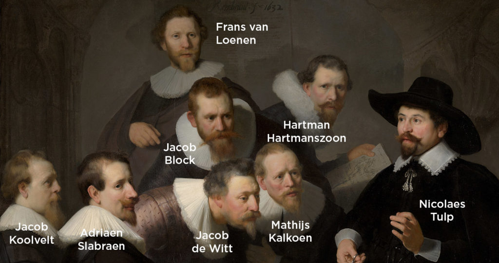 The characters depicted in Rembrandt's painting, The Anatomy Lesson