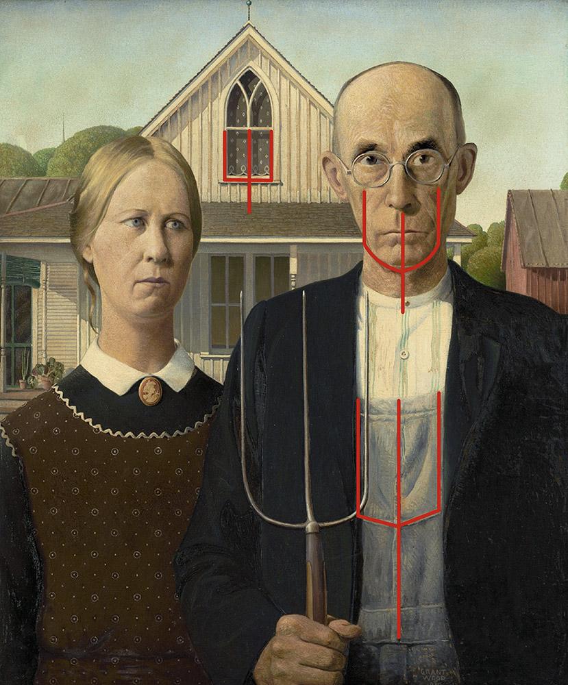 La fourche dans American Gothic
