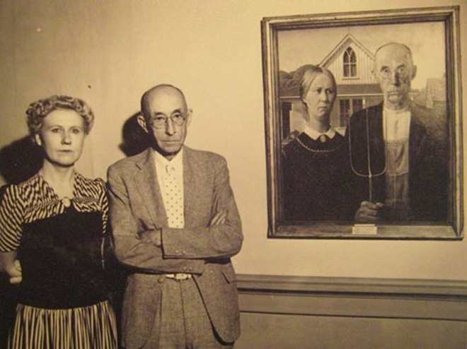Nan Wood and the Dr McKeeby next to American Gothic