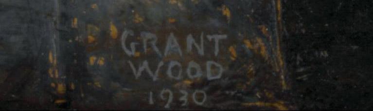 Signature de Grant Wood sur le tableau American Gothic