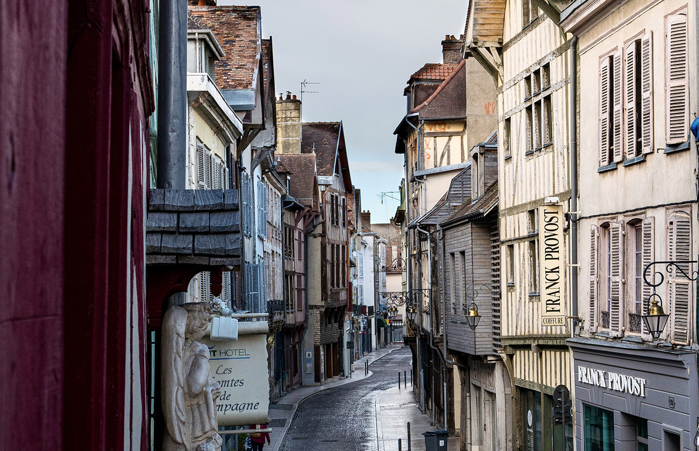 Typical street of Troyes in the Aube